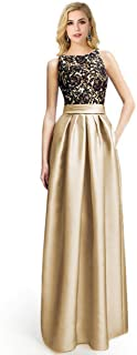 Babyonline Sexy Lady Crewneck Lace Long Formal Prom Bridesmaid Dress with Pocket