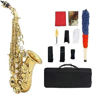 Gecheer Muslady Brass Golden Carve Pattern Bb Bend Althorn Soprano Saxophone Sax Pearl White Shell Buttons Wind Instrument...