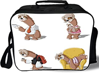 Sloth 3D Print Insulated Lunch Bag,Cartoon Lazy Sloths Family Father Mother Baby Resting Drinking Coffee Going to Work Decorative,for Work/School/Picnic,Multicolor