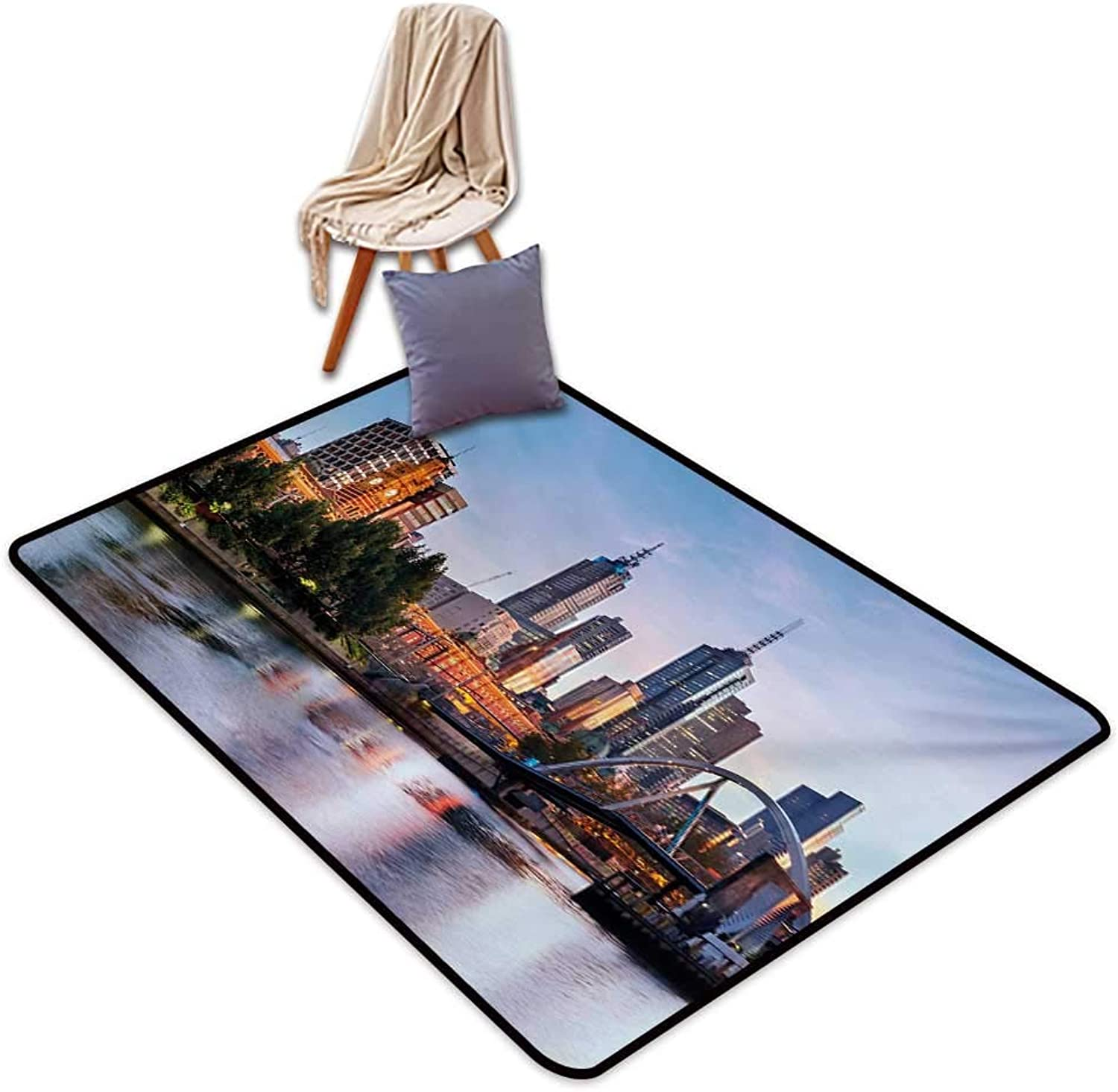 City Non-Slip Door mat Early Morning Scenery in Melbourne Australia Famous Yarra River Scenic Water Absorption, Anti-Skid and Oil Proof 32  Wx48 L orange Green Pale bluee