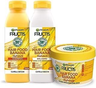 Garnier Fructis Hair Food Banana Nutriente, Kit con Shampoo, Balsamo e Maschera per Capelli Secchi, 98% di Ingredienti di ...