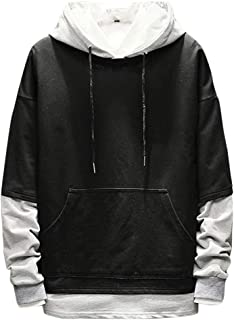 NIUQ Men's Casual Fashion Patchwork Hoodie Long Sleeves Sweatershirt Tops