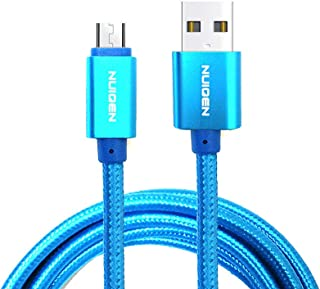 6FT Micro-USB Premium Nylon Braided Charging Cable for Android, Samsung, Nexus, LG, HTC, Nokia, Sony, and More (Blue) - 2 ...