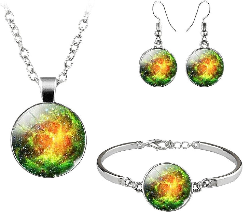 Fashion Jewelry Sets Cosmic Nebula Bracelet Necklace Earrings For Women Handmade Glass Jewellery