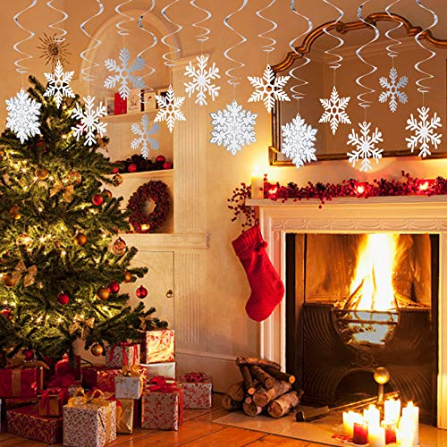 Decorlife 42PCS Snowflake Decorations, Winter Wonderland Ceiling Décor, Hanging Snowflakes for Christmas Holiday Decorations