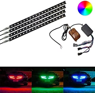 iJDMTOY (4) Strip 12-Inch 7-Color RGB 72-LED Knight Night Rider Scanner Lighting Bars w/Remote Control For Car SUV Truck, etc