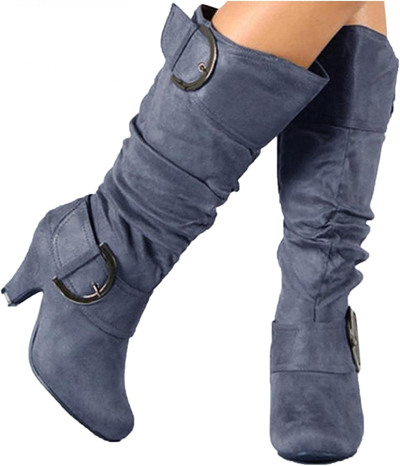 Zieglen Women's Winter Boots, Women's Boots with Buckle Tapered Heel Long Booties Western Boots Snow Boots Motorcycle Boots
