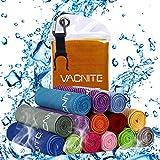 VACNITE クールタオル 速乾タオル 超吸水 軽量 速乾 熱中症対策 100×30cm 1枚 14種類選択可能 防水袋付き (オレンジ)