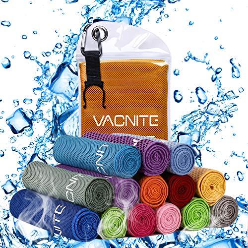 VACNITE クールタオル 速乾タオル 超吸水 軽量 速乾 熱中症対策 100×30cm 1枚 7色選択可能 防水袋付き (グ...