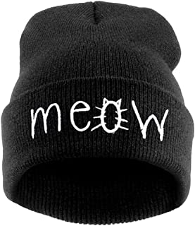Slouchy Beanie Winter Knit Skull Hat for Women Men with Meow