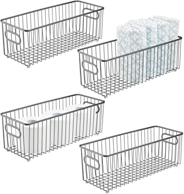 mDesign Deep Metal Bathroom Storage Organizer Basket Bin - Farmhouse Wire Grid Design - for Cabinets, Shelves, Closets, Vanity Countertops, Bedrooms, Under Sinks - 4 Pack - Graphite Gray
