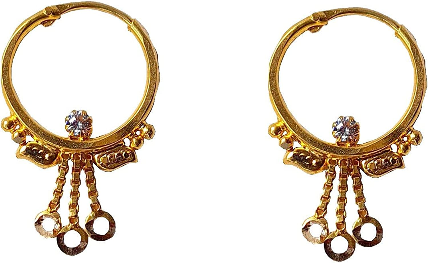 Certified Solid 22K/18K Yellow Fine Gold Stone Design Hoop Earrings Available In Both 22 Carat And 18 Carat Fine Gold, For Women,Girls,Kids,Gifts,Bridal,Wedding,Engagement & Celebrations
