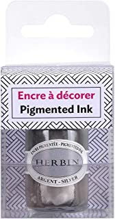 Herbin 12505T - 15 ml Bottle of Pigmented Ink For Calligraphy, Pen and Drawing, Silver