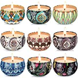 Hausware Scented Candles Set of 9, 9×2.2oz Natural Soy Wax Candles, Aromatherapy Candles Essential...