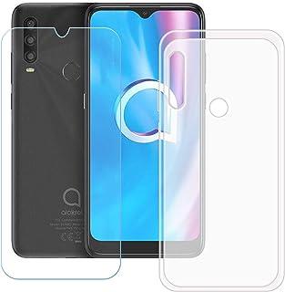 TTJ Genomskinligt skal för Alcatel 1SE 2020 HD skottsäkert glas, mobiltelefonfodral silikon skyddande fodral TPU Case mobi...