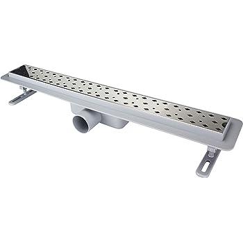 ATCO-FLOW Canaleta de ducha de acero inoxidable 304 rejilla de acero inoxidable cuerpo ABS sifón desagüe longitud 600 mm desagüe de suelo desagüe desagüe de ducha para baño: Amazon.es: Bricolaje y herramientas