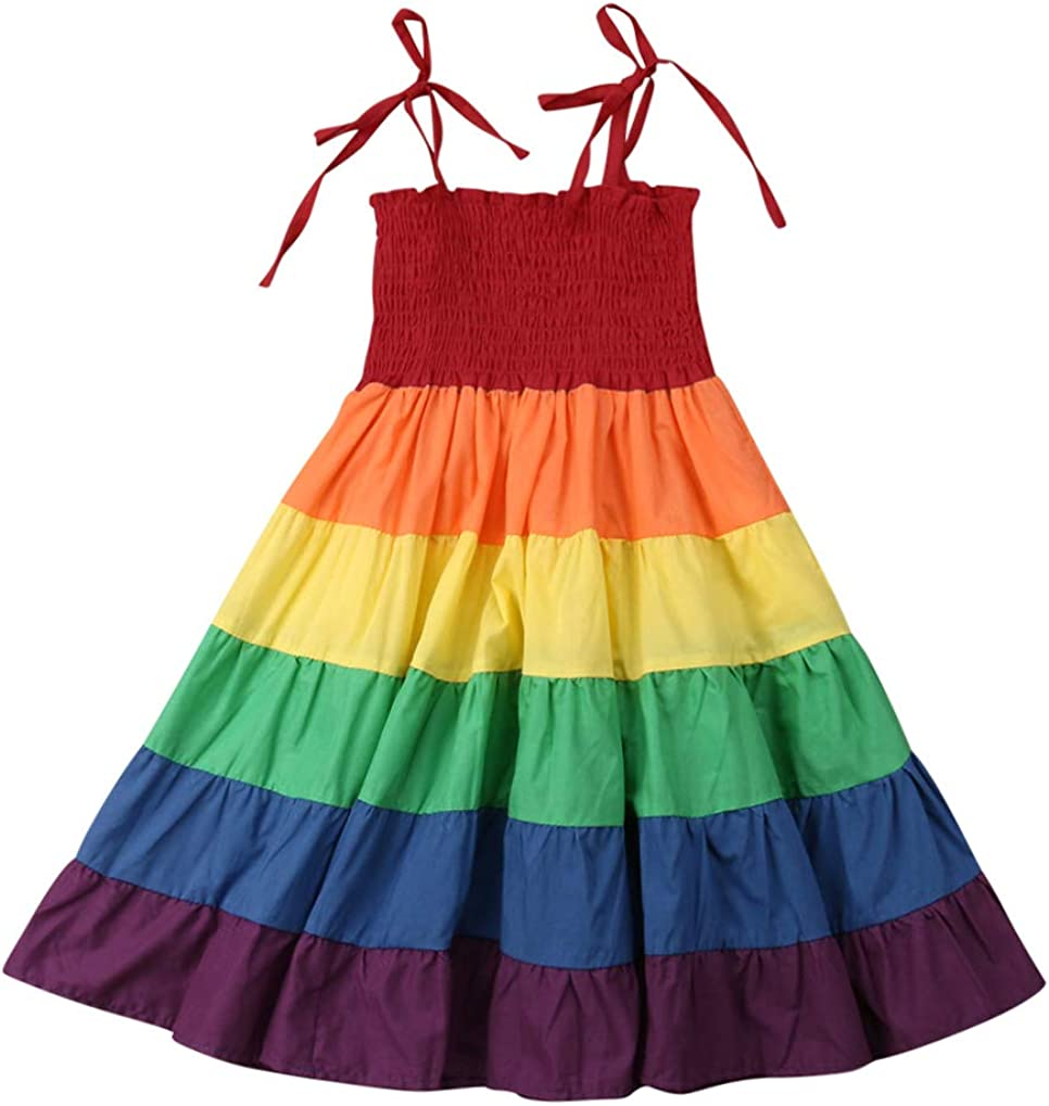 Toddler Baby Girl Spaghetti Strap Long Maxi Dresses Sleeveless Colorful Rainbow Style Little Girls Summer Clothes Outfits
