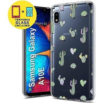 TalkingCase Clear TPU Phone Case for Samsung Galaxy A10E,SM-A102U,Rockstar Guitar Pattern Print,Light Weight,Flexible,Anti-Scratch,Tempered Glass Screen Protector Included,Designed in USA
