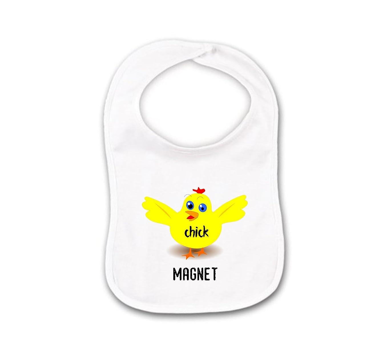 Chick Magnet for Chicken Farmer Baby Bib or Burp Cloth For Gender Neutral Unisex Girl or Boy