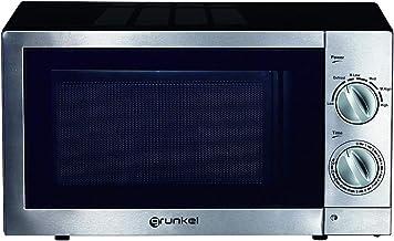 Grunkel - MW-20IXT - Microondas de 20 litros de capacidad y 6 niveles de potencia. Función descongelación y temporizador hasta 30 minutos - 700W - Acero inoxidable