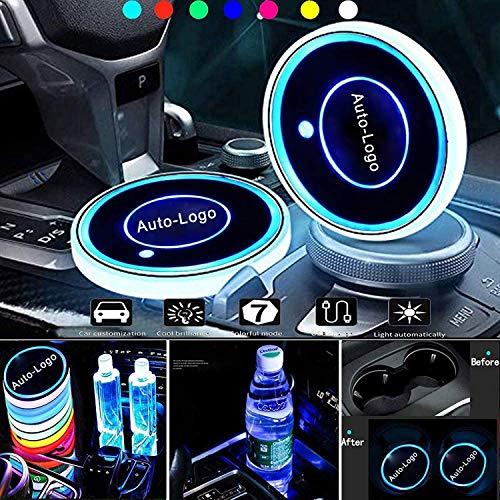 Sottobicchiere a LED per auto, luce per auto, 7 colori e 3 modalità di Usb-ladens, sottobicchiere a LED per la decorazione dell'abitacolo del treno a otto accessori per l'atmosfera (MAZDA)