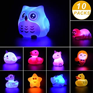 10 Pieces Bath Toys Light Up Floating Rubber Animal Toys Set for Baby Infants Kids Toddler Child Bathtub Bathroom Shower Games Swimming Pool Party