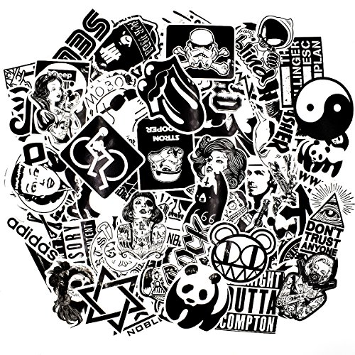 Riao-Tech 100pcs Rock Punk Music Band Stickers, Black and White Vintage Laptop Bicycle Luggage Guitar Patches Skateboard Vinyl Sticker Decals