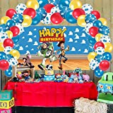 Toy Story Party Supplies Decorations, Happy Birthday Backdrop 3 x 5 Ft Blue Sky White Clouds Banner Balloons Garland Photography Background Photo Booth for Baby Shower, Game Gifts for Kids Boys Girls
