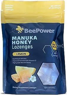 BeePower All Natural Manuka Honey Lozenges | Contains 40 Lozenges 6.7 Oz MGO 500+ (Lemon Flavor)