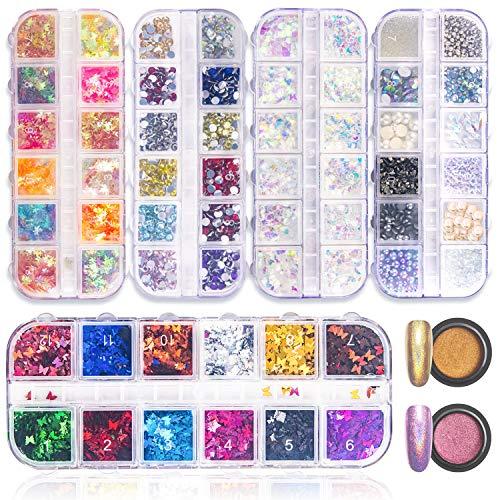 3840Stück Nailart Strasssteine Nagel Dekoration Set-5 Boxen Nails Design Metall Nieten,Schmetterling Nails Art Glitzer Paillette ,2 Boxen Nagel Pulver