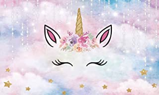 Allenjoy 5x3ft Magical Unicorn Backdrop Gold Star Watercolor Floral Children 1st Birthday Party Banner Baby Girl Shower Supplies Unicornio Theme Cake Table Decoration Background Photo Booth Props