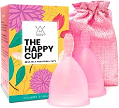 Happy Cup Menstrual Cups Hawwwy Tampon & Pad Alternative Small Regular Flow Good-Grip Pull Design Eco Friendly Reusable FBA Registered Comfortable FemininePeriod Cup Beginner or Experienced (2-Pack)