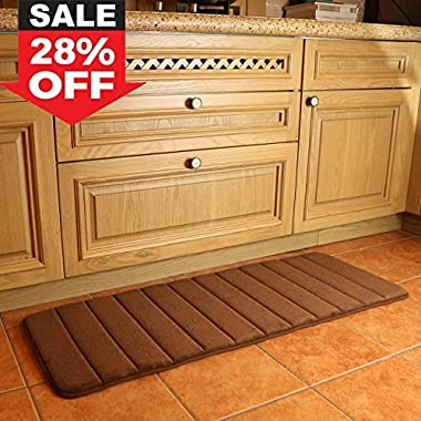 KMAT  47  x 17  Long Anti-Fatigue Memory Foam Kitchen Mats Bathroom Rugs Extra Soft Non-Slip Water Resistant Rubber Back Anti-slip Runner area rug for Kitchen and Bathroom Brown