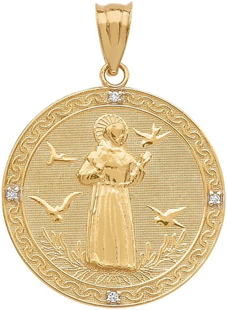 10k Gold Saint Francis of free Assisi Medal Charm free shipping Penda Round Diamond
