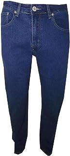 Jeans da Uomo Regular Fit Taglie Forti Pantaloni in Tela Denim a Vita Alta con Una Gamba Dritta Elasticizzato Blu Azzurro ...