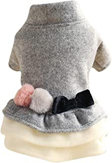 MEANIT Dog Dress Pet Clothes Winter Sweety Puppy Doggie Apparel Warm Clothes for Small Dog Teddy, Pug, Chihuahua, Shih Tzu