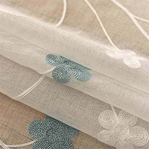 Teal White Floral Embroidered Sheer Curtains for Living Room Bedroom Faux Linen Semi Voile Curtains Drapes Window Treatment Rod Pocket 52 x 84 Inch 1 Panel