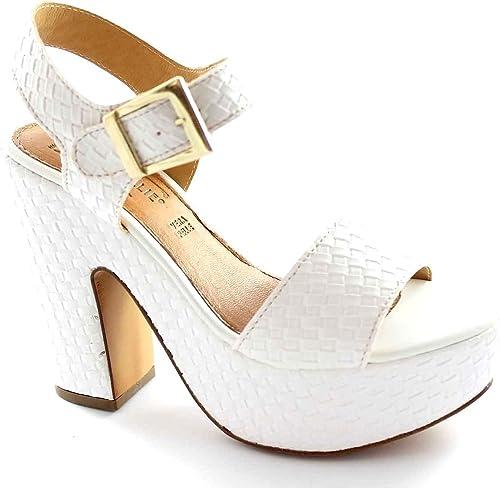 FOLLIE DIVINA 04-4041 sandalias de correa de talón blanco plateaux