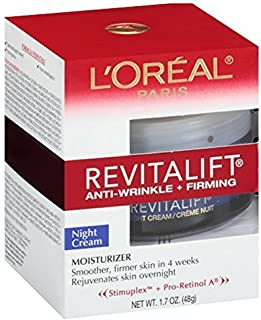 L'Oreal Paris, RevitaLift Anti-Wrinkle + Firming Night Cream Moisturizer 1.7 oz (Pack of 3)
