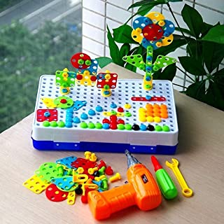 Likayble Building Block,Creative Drilling Toy with Screwdriver Tool Playset S T E M Toys, Electric Drill Puzzle for Kids, ...