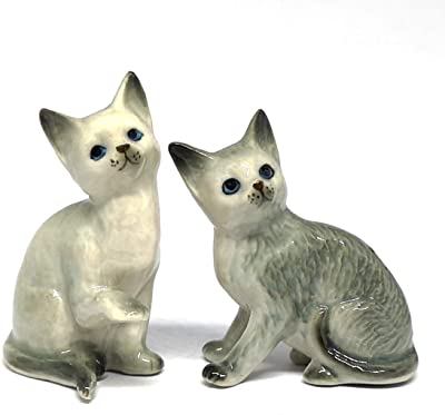 ZOOCRAFT Ceramic Porcelain Gray Cat Figurine Handmade Miniatures Collectible Home Decoration Set of 2