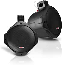 6.5 Inch Dual Marine Speakers - 2 Way IP44 Waterproof, Weather Resistant Outdoor Audio Stereo Sound System with 200 Watt Power and Poly Mica Cone and Butyl Rubber Surround - 1 Pair - PLMRB65 (Black)