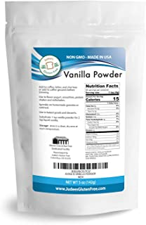 Judee's Premium Vanilla Powder (5 Oz) Non-GMO - Made in the USA - Add Vanilla Flavor to your recipes, coffee, yogurt, smoothies, protein shakes