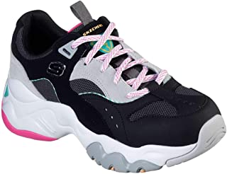Skechers D-Lites 3-0 Ocean Cloud 女士时尚运动鞋黑色/亮粉色