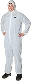 Pioneer V7013550-XL Polypropylene Disposable Coverall, Front Zipper, Elastic Waist, Ankles and Wrists White, XL