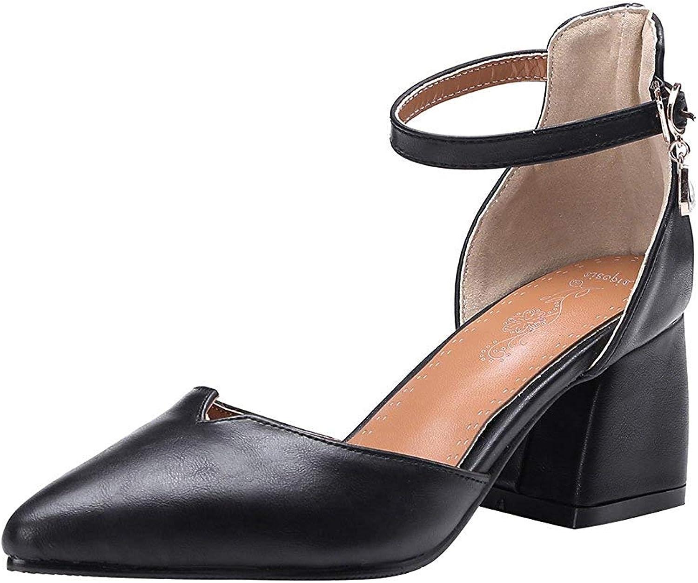 Gcanwea Women's Dressy Pointed Toe Sandals- Buckle Ankle Strap Pendant - Block Medium Heels Work shoes Brown 6 M US