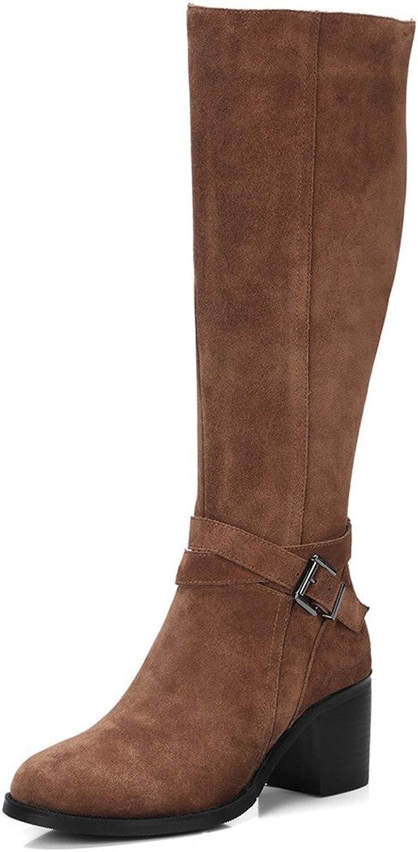 Nine Seven Suede Leather Women's Round Toe Chunky Heel Buckle Handmade Winter Fashion Knee High Boots