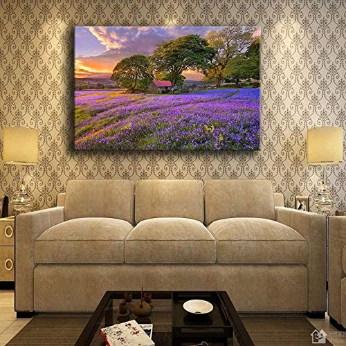 Canvas Wall Art Printed Pictures Lavender Beautiful Sunset Flower Fields Painting Living Room Home Decor Tree Poster -60X90Cm No Frame