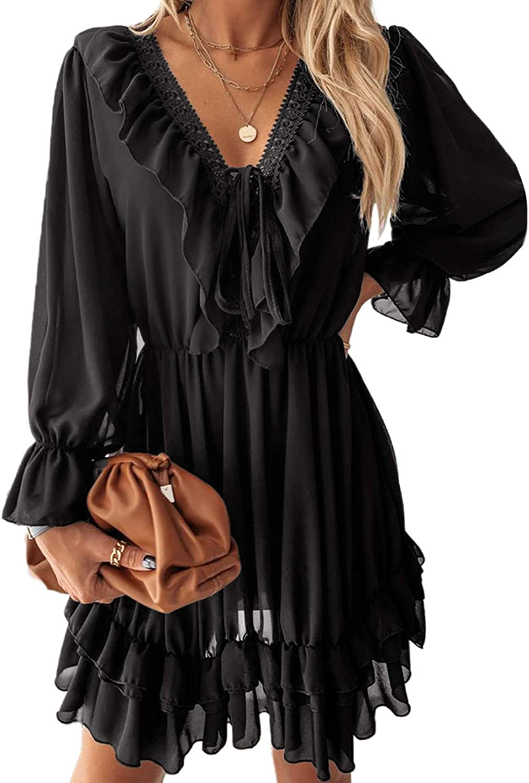 Happy Sailed Womens V Neck Ruffled Layered Chiffon Dress Self Tie Swing Mini Dresses S-XL