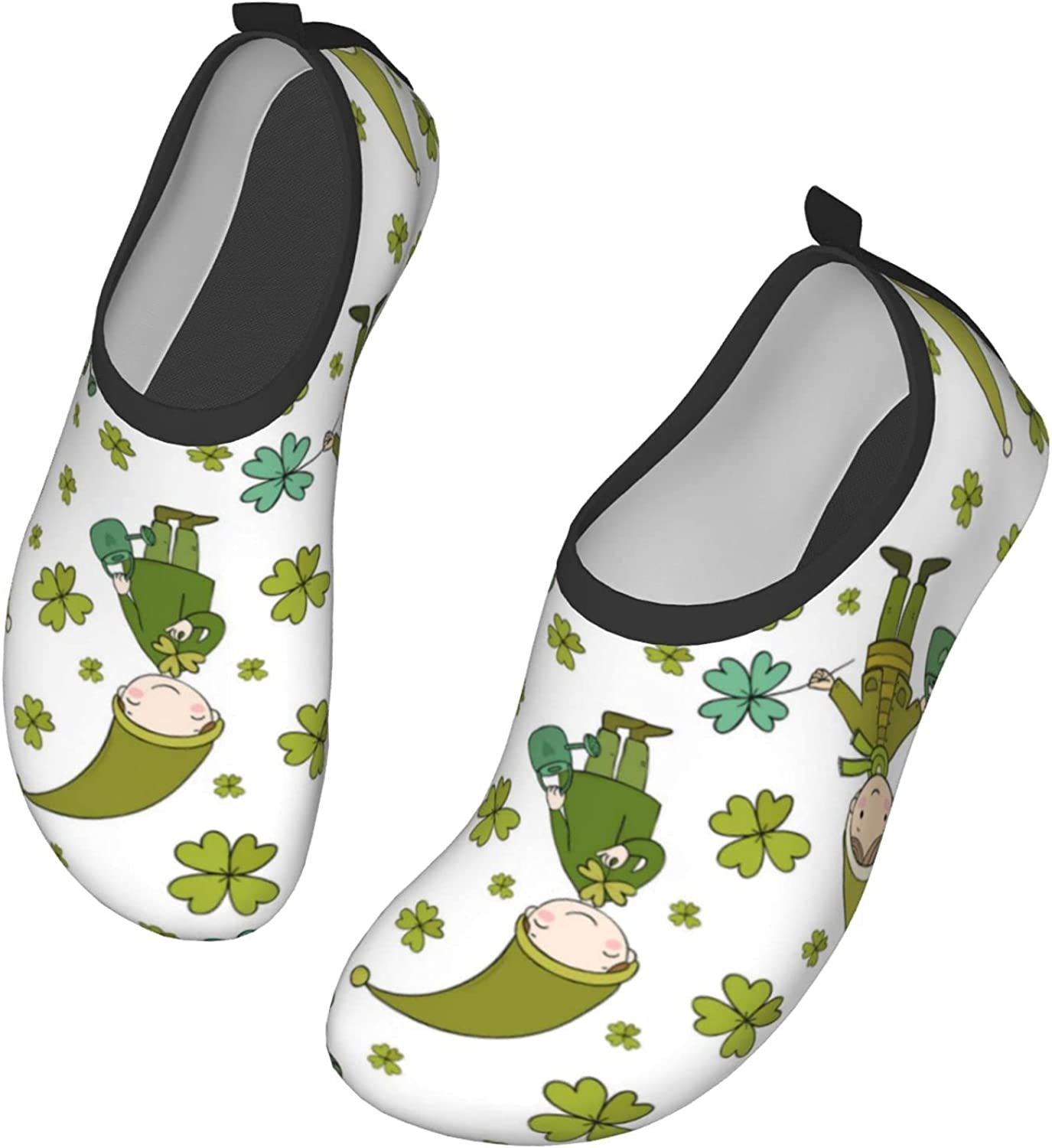 Cute Gnomes Clover and Watering Water Shoes Women's Men's Outdoor Beach Swimming Aqua Socks Quick-Dry Barefoot Shoes Surfing Yoga Pool Exercise